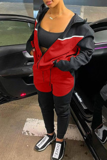 Black Red Casual Sportswear Solid Split Joint Zipper Hooded Collar Long Sleeve Two Pieces