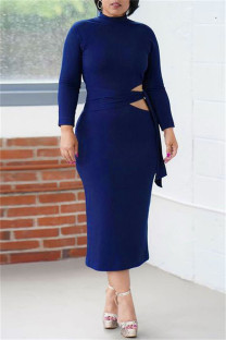 Blue Fashion Casual Solid Bandage Hollowed Out O Neck Long Sleeve Dresses