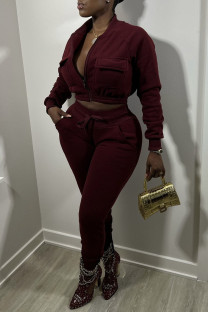 Burgundy Casual Street Solid Split Joint Zipper Long Sleeve Two Pieces