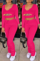 Rose Red Sexy Casual Solid Hollowed Out Fold U Neck Regular Two-piece Set