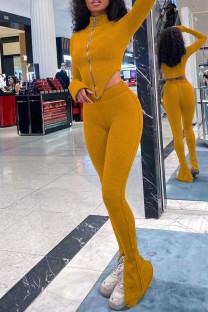 Yellow Sexy Solid Split Joint Asymmetrical Zipper Zipper Collar Long Sleeve Two Pieces