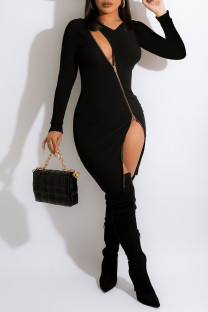 Black Sexy Solid Split Joint Zipper V Neck Pencil Skirt Dresses