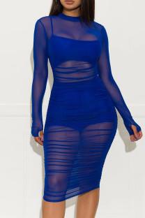 Blue Fashion Sexy Solid See-through O Neck Long Sleeve Three-piece Set