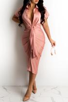 Pink Casual Solid Split Joint Turndown Collar Shirt Dress Dresses
