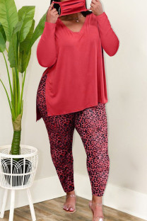 Red Casual Solid Split Joint Slit V Neck Long Sleeve Two Pieces