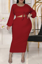 Red Fashion Casual Solid Bandage O Neck Plus Size Two Pieces