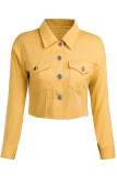 Black Street Style Solid Denim Jacket (Only Jacket)
