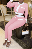 Pink Sexy Solid Buckle O Neck Long Sleeve Two Pieces