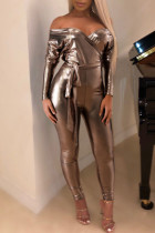 Sexy Dew Shoulder Skinny Champagne One-piece Jumpsuit