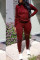 Casual Hooded Collar Broken Holes Wine Red Blending Two-piece Pants Set