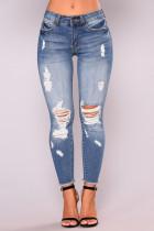 Casual Broken Holes Blue Jeans
