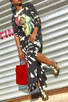 Casual Long Sleeves Printed Black Ankle Length  Dress