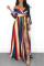 Euramerican Side Slit Striped Multicolor Floor Length  Dress