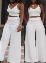 Sexy V Neck Spaghetti Strap Sleeveless Hollow-out White  Two-piece Pants Set