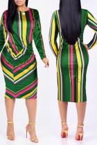 Euramerican Striped Multicolor Blending Knee Length Dress