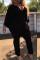 Euramerican Cape Design Black Twilled Satin One-piece Jumpsuit