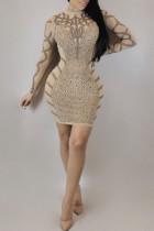 Euramerican Long Sleeves Printed Apricot Mini Dress