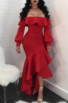 Sweet Hubble-bubble Sleeves Flounce Design Red Ankle Length Dress