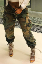 Casual High Waist Camouflage Printed Army Green Cotton Pants