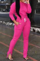 Euramerican Zipper Design Pink Blending Two-piece Pants Set