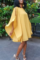 African Batwing Sleeves   Yellow Mini Dress