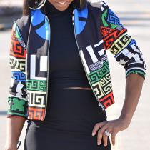 Trendy Round Neck Printed Zipper Design Polyester Jacket
