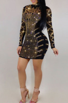 Sexy Hot Drilling Decorative Black Mini Dress