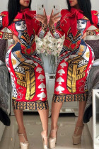 Casual Printed Red Knee Length Dress