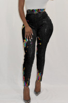 Euramerican Sequined Decorative Skinny Black PU Pants