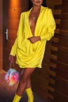 Chic Deep V Neck Long Sleeves  Yellow Mini Dress