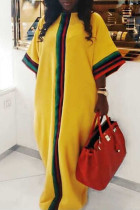 African Patchwork Loose Yellow Twilled Satin Floor Length Dress