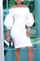Temperament  Lantern Sleeves White Knee Length Dress