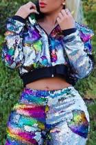 Casual Sequined Decorative Multicolor Jacket