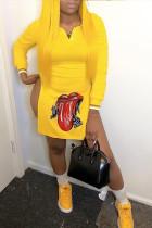 Trendy Printed Side High Slit Yellow Blending Mini Dress