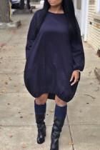 Euramerican Long Sleeves Loose Dark Blue Knee Length Dress