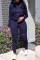 Euramerican Broken Holes Deep Blue Blending Two-piece Pants Set
