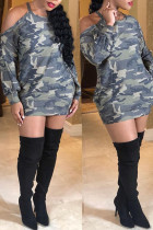 Casual Camouflage Printed Twilled Satin Mini Dress