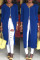 Euramerican Zipper Design Blue Twilled Satin Coat
