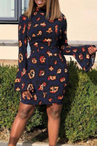 Chic  Flare Sleeves Printed Blue  Blending  Mini  Dress