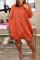 Euramerican Long Sleeves Loose Orange Knee Length Dress