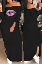 Euramerican Dew Shoulder Printed Black Ankle Length Dress
