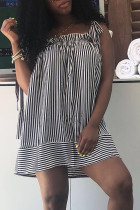 Casual Shoulders Lace-up Striped Black Mini  Dress