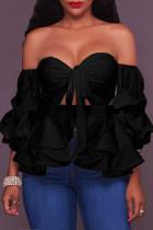 Sweet Dew Shoulder Lantern Sleeves Black Blouses