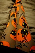 Euramerican Pumpkin Printed Skinny Yellow Pants
