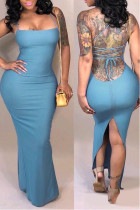 Casual Backless  Baby Blue Qmilch Ankle Length  Dress