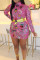 Casual Printed Pink Twilled Satin Mini Dress(Without Belt)