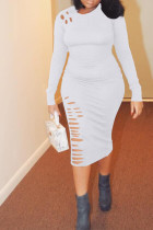 Casual Broken Holes White Twilled Satin Knee Length Dress