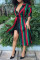 Casual Striped Long Multicolor Twilled Satin Coat