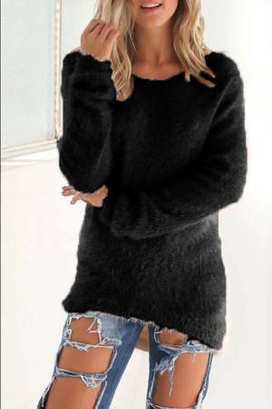 Euramerican Winter Long Sleeves Black Blending Blouses