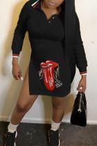 Trendy Printed Side High Slit Black Blending Mini Dress